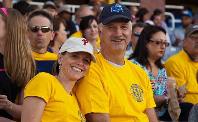 Sue and Mark Mannering at the Blue Rocks game
