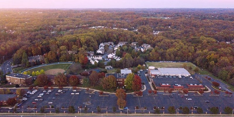 Aerial view of Campus before enhancement project