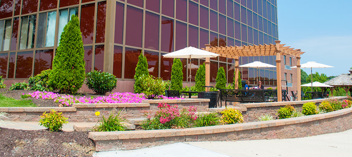 Fulmer Center patio and gardens