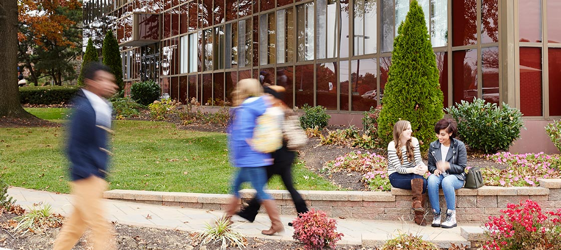 Header image of students on Campus outside Fulmer Center